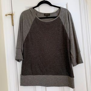 AB Studio 3/4 sleeve sweater w sparkly mesh- Large